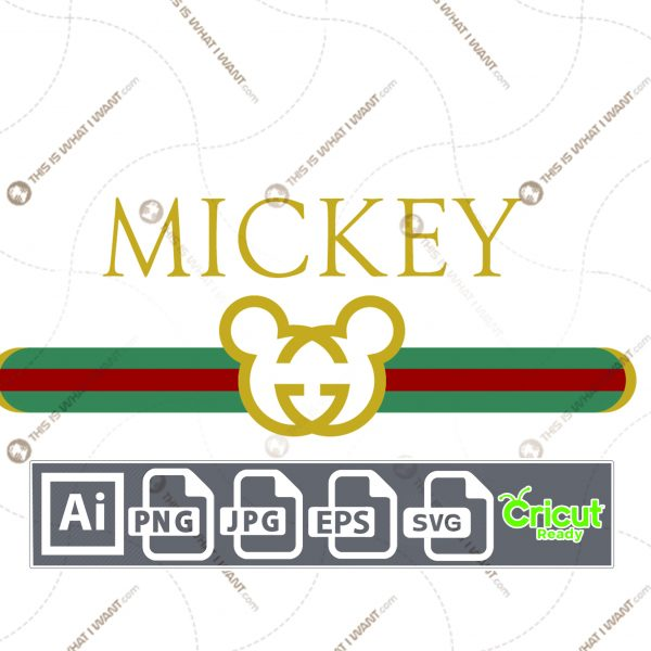 Gucci Inspired printable graphic art Mickey Mouse - vector art design hi quality - Ai, Eps, SVG, JPG, PNG
