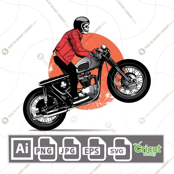 Skull design on a bike pattern - vector art design hi quality- Ai, SVG, JPG, PNG