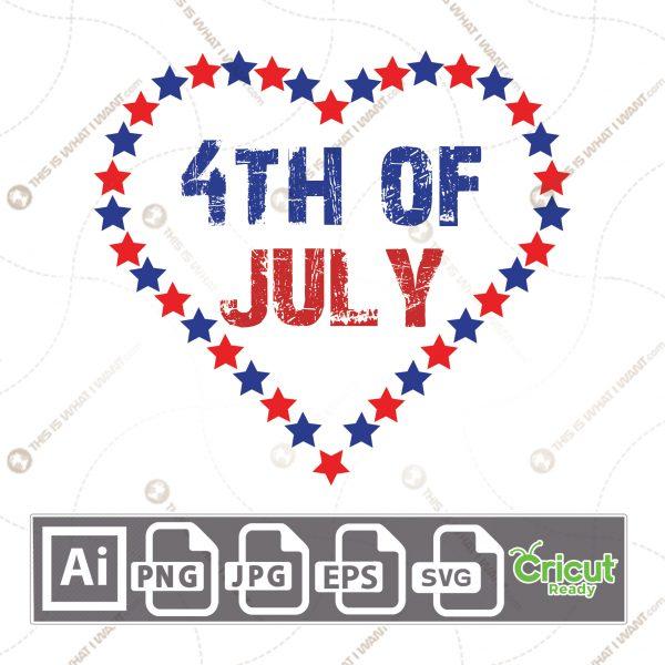 Rustic 4th of July Inside Heart-shaped Stars - Print and Cut Hi-Quality Vector Format Files Bundle - Ai, Svg, JPG, PNG, Eps - Cricut Ready