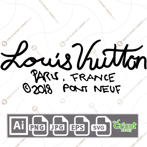 Louis Vuitton in Cursive Writing Inspired Vector Design - Print and Cut Hi-Quality Vector Files Bundle - Ai, Svg, JPG, PNG, Eps, Cricut Ready