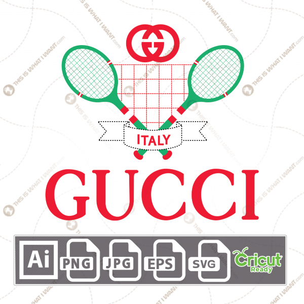Gucci Tennis Inspired Vector Art Design - Hi-Quality digital downloadable File bundle - Ai, SVG, JPG, Png, Eps - Cricut Ready
