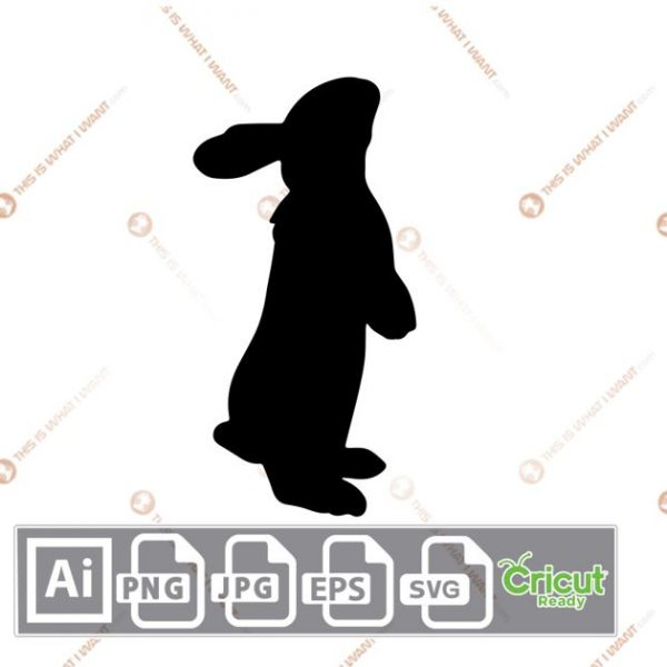 Shaded Easter Bunny in Standing Position - Print n Cut Hi-Quality Vector Bundle - Ai, Svg, Jpg, Png, Eps - Cricut Ready